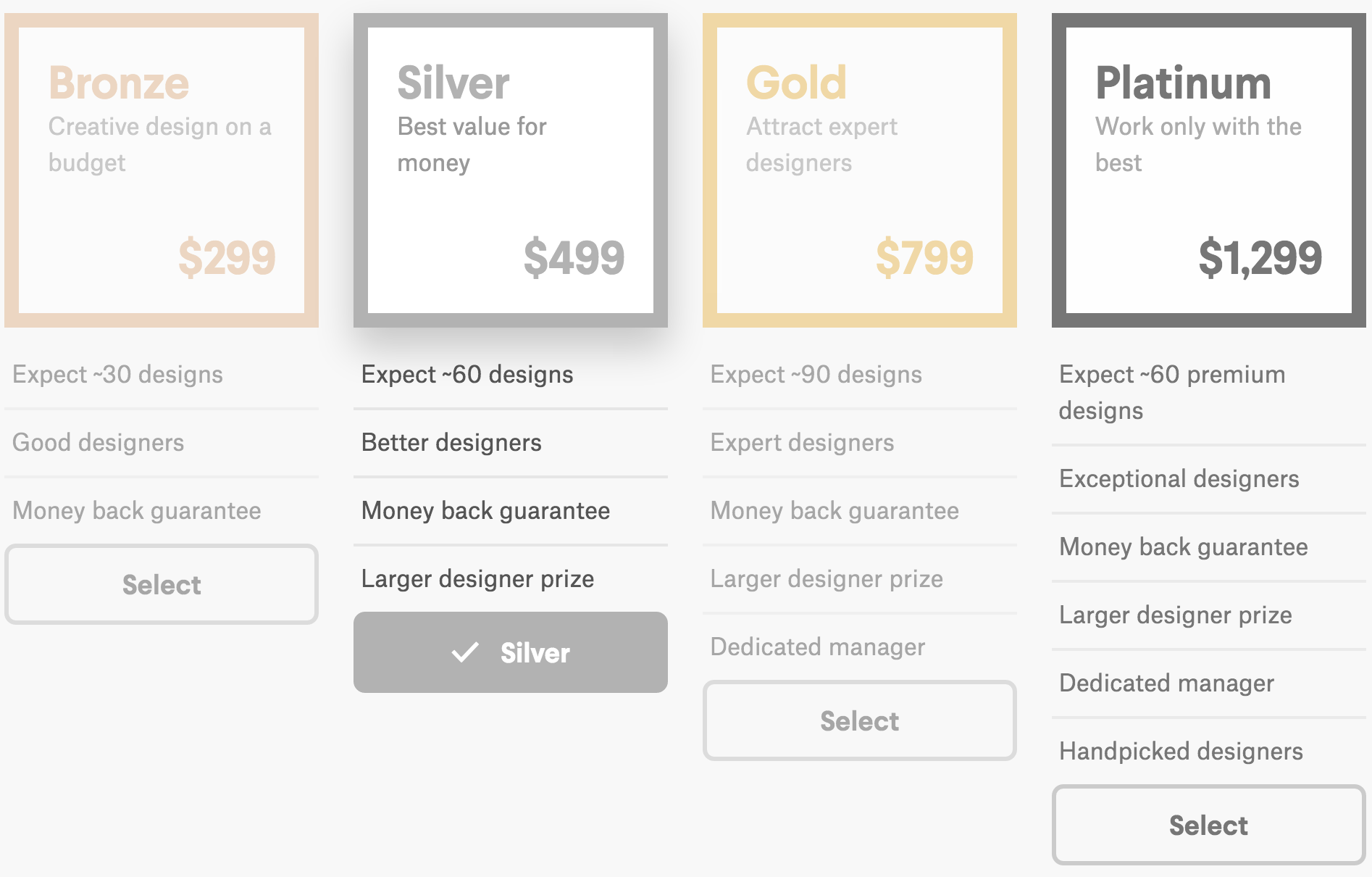 99designs price options
